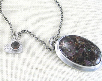 Mosaic Pink Tourmaline Necklace Pendant with Heart Charm set in Sterling Silver,  Holiday Jewelry, Perfect Christmas Gift