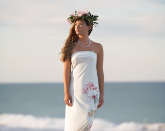 Strapless Hawaiian Beach Wedding Dress