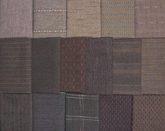 Japanese Yarn Dyed Fabrics - 16 dark brown fat eighths