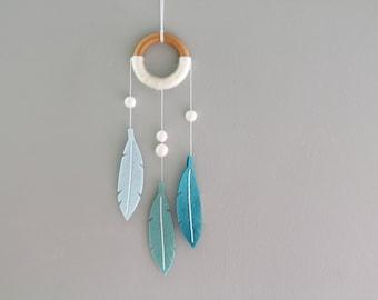 Aqua Blue Dream Catcher. Minimalist Felt Feather Dreamer. Modern Dreamcatcher. Turquoise Feather Wall Hanging. Handmade by OrdinaryMommy