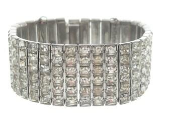 Vintage Rhinestone Bracelet, Wide French Crystal Cuff, 1950s Vintage Wedding Jewelry, Fine Vintage Statement Jewelry