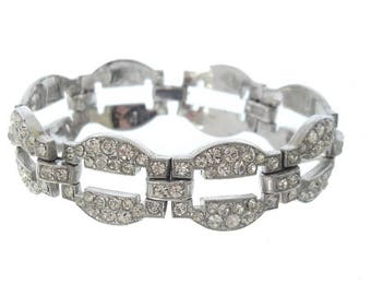 Antique Art Deco Bracelet, Wide Oval Rhinestone Link, 1920s Vintage Fine Wedding Jewelry, Art Deco Rhinestone Jewellery