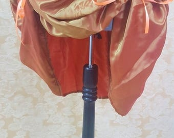 "SALE BLACK FRIDAY Sale Gold/Orange Shot Knee Length Bustle Skirt-One Size Fits Up To A 52"" Waist"