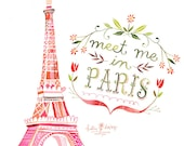 Meet Me In Paris - on stretched canvas - Katie Daisy art