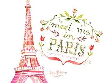 Meet Me In Paris - various sizes - STRETCHED CANVAS - Katie Daisy art