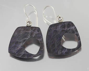 Modern Water Texture Purple Patina Dangles