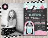 50's Sock Hop Retro Birthday Invitation with photo - girl birthday, 5x7 printable JPEG PDF