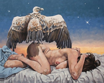 """Archival Giclee Print of Original Oil Painting, Fine Art Print, Nude Figurative Surreal Painting with Vulture and Sunset - """"Dreamcatcher"""""""