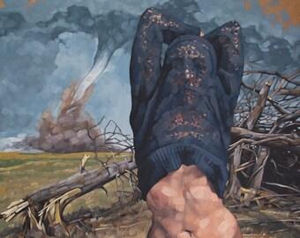 "Archival Fine Art Print of Oil Painting, Female Figure with Tornado Damage, Contemporary Imaginative Art, Original Art - ""Storm Shelter"""