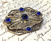 Vintage Filigree Brooch Pin Cobalt Blue Cabochon stones  Art Deco