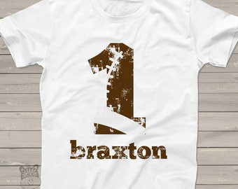 football birthday t shirt - football party shirt - distressed number and lettering - pick any number