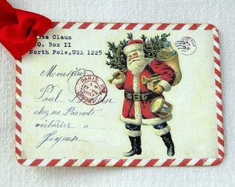Vintage Style Santa Postcard Christmas Gift or Scrapbook Tags or Magnet #687
