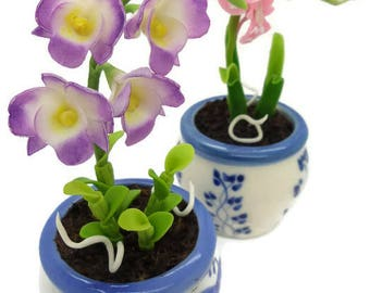Miniature Polymer Clay Flowers Supplies Handmade Orchids 2 pieces