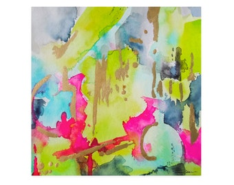 "Watercolor Abstract Art Print-""Shadows N' Gloss"", Giclee, Fine Art Reproduction, Wall Decor, Lime, Abstract Painting"