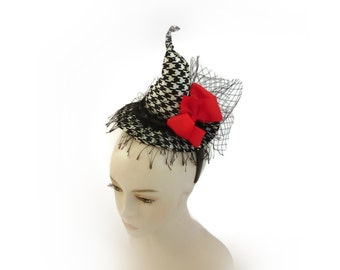 """Witch Hat Fascinator, Mini Hat Headband, Burlesque Headpiece, Office Party Witch Costume Headband in Black and Red - """"HOT MESS Dainty Diva"""""""""""