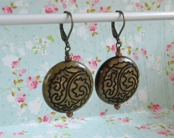 Large Bronze Coin Beads Leverback Earrings Antiqued Jewerly