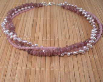 Pink Pearl Multistrand Necklace Pink Tourmaline Necklace 3 Strand Necklace Pink Gemstone Twisted Strands Sterling Silver Light Pink Necklace