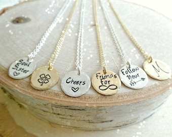 Custom text or phrase, mantra, message necklace, hand stamped sterling silver charm, layering, Mother's Day gift, graduation, graduate gifts