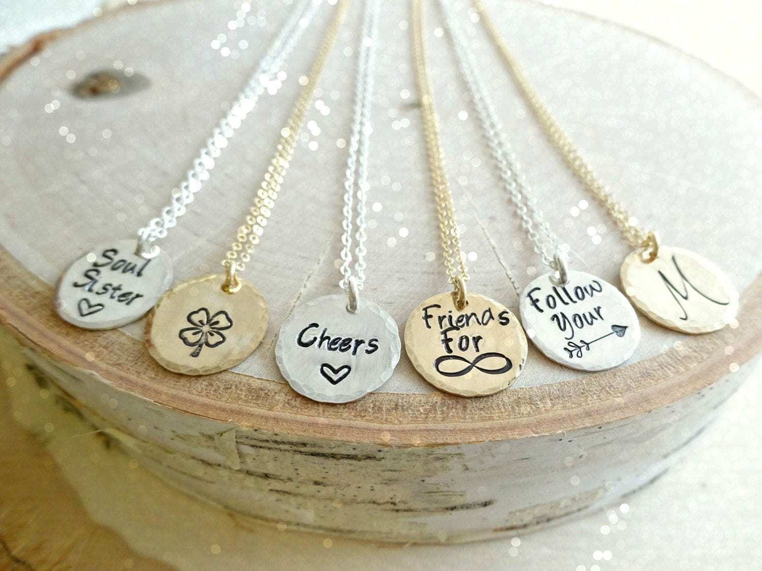 Custom Stamped Disc charm necklace, personalized message, hand stamped jewelry, bridesmaid gifts, graduation, minimal layering, Otis B