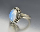 Antique Art Nouveau Moonstone Ring, Sterling Silver Moon Celestial Ring, Love Token Good Luck Stacking Statement Ring