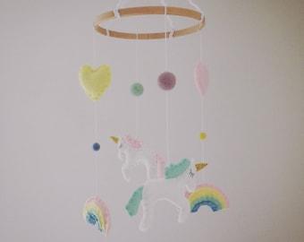 Unicorn & Rainbows Sparkle Felt Baby Crib/Nursery Mobile