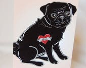 Reserved - Custom Black Pug Tattoo 8x10 Print
