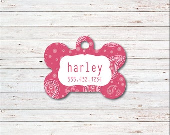 Dog Tag, Personalized Dog Tags, Dog ID Tag, Bandana, Hankerchief, Personalized Dog Tag, Gift for Dog Lover, Female, Pink
