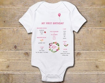 First Birthday Onesie, Milestones, First Birthday Stats, Girl, One Onesie, First Birthday Shirt, 1st Birthday Outfit, Party Shirt, One Shirt