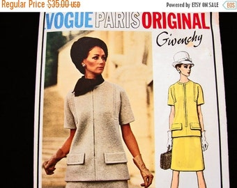 SALE 25% Off 1960s Dress Pattern Vogue Paris Original Pattern Givenchy size 14 Womens 2 piece Dress Jackie O Style Dress Vintage Vogue Patte