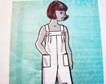 Overalls Pattern size 6 Girls Overalls with Pockets Simple to Sew Mail Order Pattern