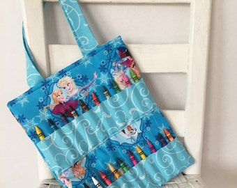 Frozen Teal Crayon Bag Disney Birthday Toddler Girl Gift Elsa and Anna