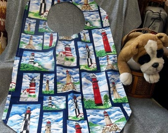 Senior Dining Bib, Reversible, Lighthouse Beacons Print
