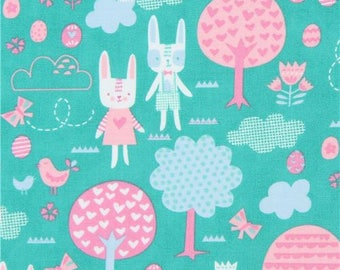 215047 green with rabbit tree small egg fabric Moda Fabrics