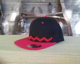 Native Beaded Baseball Cap. Hat Flat bill. Friendship design. basket design . Yurok. Karuk.Hupa. one size fits all. Snap backl