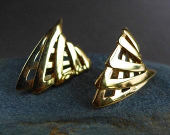 Gold Givenchy Earrings, 1980s Brutalist Gold Earrings, Scary Gold Earrings, Gold Shield Arrowhead Triangle Earrings, Vintage Gold Earrings