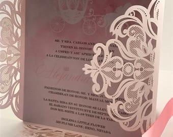 Quinceañera Invitation. Princess Quinceañera Invite. Cinderella invitation. Spanish Invitation.  15th Birthday Invite. Sweet 16 Invitation.