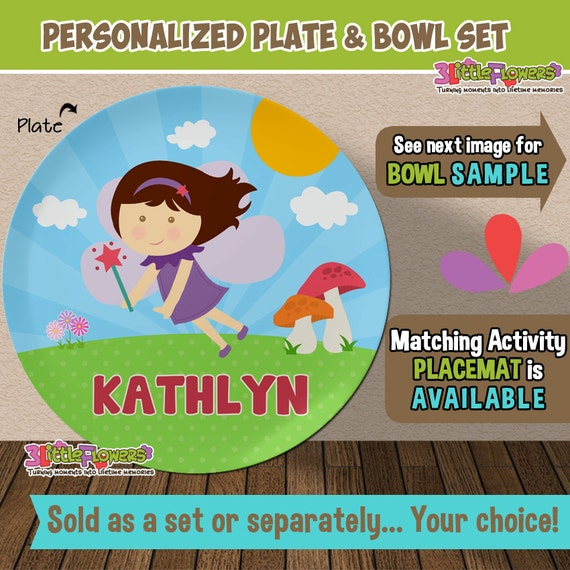 Il_570xn  sc 1 st  Catch My Party & Personalized Fairy Plate and Bowl Set - Personalized Plastic ...