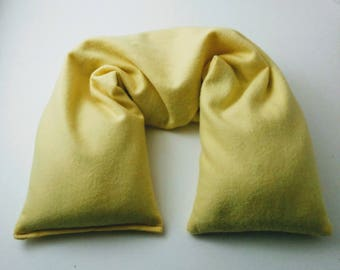 Organic Cotton Flannel Flaxseed Neck Wrap with Organic Herbs - Flax seed pillow - Microwavable Heat Pack or Heating Pad - Yellow Mothers Day