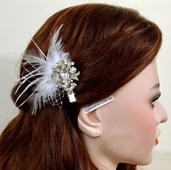 Crystal Bridal Hair Clip, Bridal Hair Jewelry, Feather Fascinator, Ivory White Bridal Headpiece, Victorian Wedding Barrette, VICKY