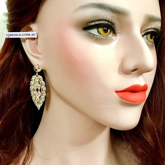 Gold Bridal Earrings, Marquise Earrings, Statement Earrings, Cz Bridal Jewelry, Woodland Wedding Earrings, Zirconia Dangle Earrings, GRETEL