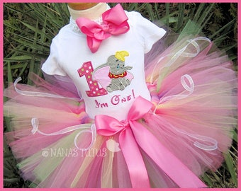Dumbo with Number, Party Outfit,Tutu Set, Theme Party, Personalized in Sizes 1yr thru 4yrs