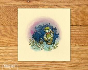 Badger Picking Mushrooms - Mini Fine Art Print