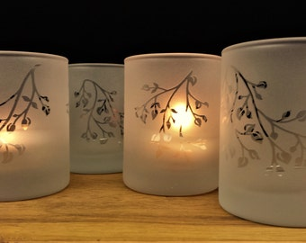Frosted 'Branches and Leaves' Set of Four Engraved Glass Votive Holders Spring Decor Summer Wedding Candle Favors