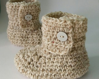 Baby Booties, neutral oatmeal, boy or girl, new baby gift, baby shower, hand crochet, baby shoes, infant shoes, new born shoes, baby boots,