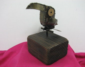 Toucan Bird Brutalist Sculpture, Mid Century Toucan Vintage Metal Art Sculpture