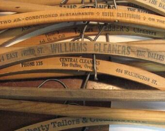 Vintage 20 Wooden Hanger Advertisng Lot Wood Advertising Clothes Hangers Washington Oregon Pa.