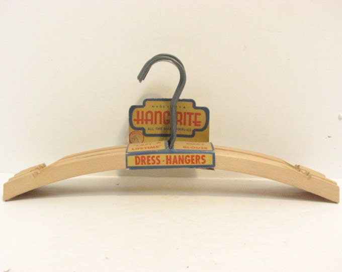Vintage Set Hang Rite Wooden Hangers, 7 NOS New Old Stock Wood Clothes Hanger Advertising