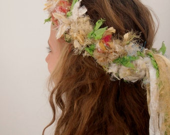 sale recycled silk boho chic  tattered rose wreath fairy princess silk flower crown by plumfish neutrals