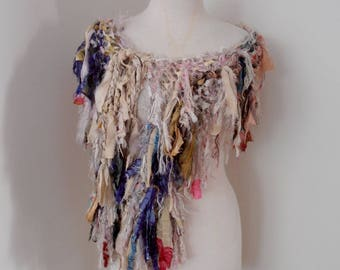 Recycled silk hand knitted boho tattered rag scarf off white cream beige