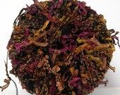 di.Ve vermicelli yarn . harvest . ribbon flag novelty art yarn . 122yd made in italy . carry along component yarn . berry chocolate nutmeg